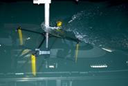 La turbina in prova nella vasca navale